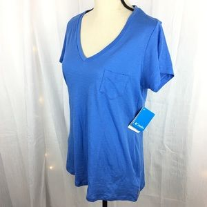 "NWT Columbia ""Kenzie"" V-Neck Tee Periwinkle Blue"